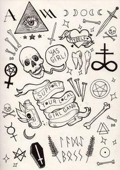 myself halloween flashsheet 16 Tattoo, Doodle Tattoo, Poke Tattoo, Doodle Drawings, Easy Drawings, Doodle Art, Tiny Tattoo, Tattoo Sketches, Tattoo Drawings