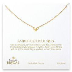 "Dogeared Bridesmaid 18"" Gold Bow Necklace Jewelry | Weddington Way"