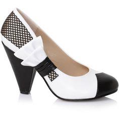 White & Black Two Tone Ella Bow Cone Pumps