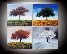 and-painted Best-selling Four Seasons Hillside Tree High Q. Painting on Canvas 4pcs/set Mixorde - Wall Canvas Paintings Of Trees