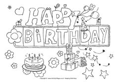 Birthday - Coloring Page | Happy Birthday coloring Pages | Pinterest ...