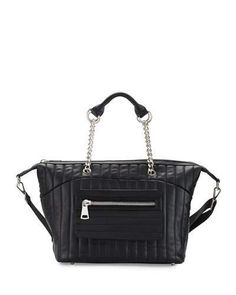 V2Z4G Cynthia Vincent Linear Quilted Duffle Bag, Black