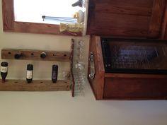 Wine bottle rack made of reclaimed barn wood. Wine glass rack made of reclaimed oak. Wine Bottle Rack, Wine Glass Rack, Wine Station, Wine Cheese, Reclaimed Barn Wood, Sweet Home, Mirror, Ideas, Wine Decanter