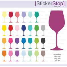 Wine Glasses Icon Digital Clipart in Rainbow Colors - Instant download PNG files by StickerStop on Etsy