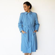 Vintage Classic Baby Blue Trench Coat