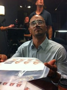 Shemar Moore clowning around on the set of criminal minds.