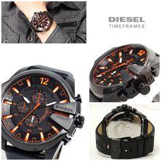 a187177fa56e Diesel dz4291 mega chief XL chronograph black leather men watch. This men s Diesel  Master Chief