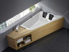 This corner bath for two invites you to relax. tub … - Home Decor Ideas! Double Bathtub, Bath Tub For Two, Built In Bathtub, Freestanding Bathtub, Wood Bathroom, Bathroom Towels, Small Bathroom, Bathroom Ideas, Homemade Home Decor