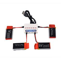 f9a41ce7576 YouCute 4pcs 3.7V 500mAh Upgraded Battery and 1to6 charger for Udi U45 U42  U42W RC