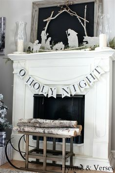 Joy to the World!   Hymns and Verses-love the nativity on the mantel