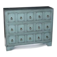 I need this for all my vitamins, supplements and various health & beauty stuff!  LOL!  #Kirklands #pinitpretty  Antique Blue Apothecary 3-Drawer Chest | Kirkland's