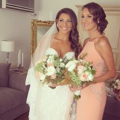 Beautiful bride with her bridesmaid