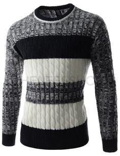 (RDLT28-BLACK) Mens Slim Fit Round Neck Three-tone Stripe Long Sleeve Knitted Sweater