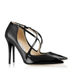 Business Casual, Jimmy Choo Mallow patent-trimmed leather pumps