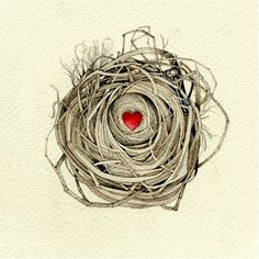 heart and key nest original watercolor by atticEditions on Etsy, $70.00