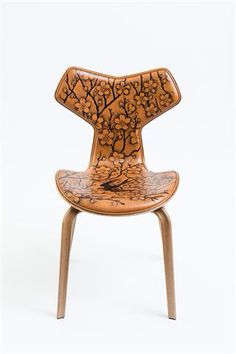 The Garden 1 - Fritz Hansen Grand Prix chair, tattoo by Pietro Sedda for Fantastic Wood project by Diego Grandi. On auction for Dynamo Camp http://www.charitystars.com/auctions?tid=565
