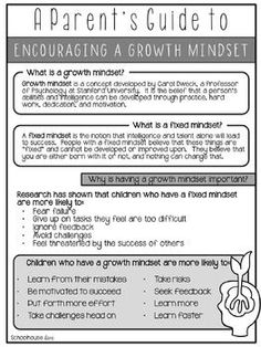Growth Mindset for Parents, Teachers, and Students