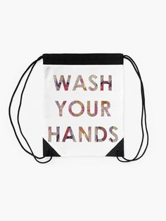 'Wash Your Hands' Drawstring Bag by Caroline Brennan Free Stickers, Woven Fabric, Drawstring Backpack, Hands, Bag, Prints, Purse, Bags
