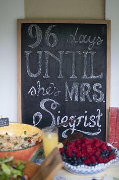 Bridal shower diy chalk message board |  http://mytrueblu.com/a-beautiful-diy-bridal-shower-in-greenwich-connecticut/
