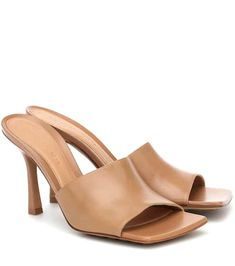 Bottega Leather Mules, Leather Sandals, Shades Of Beige, Mule Sandals, Bottega Veneta, Smooth Leather, Designer Shoes, Open Toe, Heeled Mules