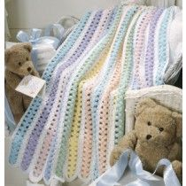 Beary Sweet Stripes Crochet Afghan Pattern for Baby ePattern