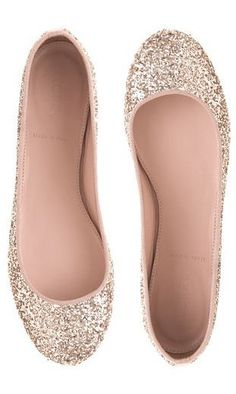 White and Gold Wedding. Reception Dancing Shoes. Bride Shoes.  J.Crew Gold Glitter Ballet Flats