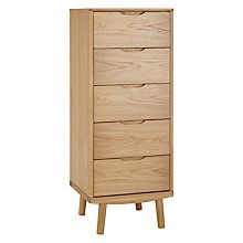 Buy House by John Lewis Bow 5 Drawer Tall Boy Chest Online at johnlewis.com