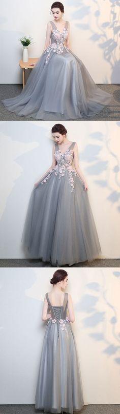 Gray v neck lace long prom dress, grey evening dress