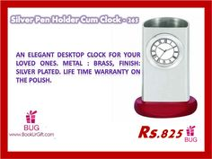 Buy #gifts online at lowest price only @ BookUrGift! http://bookurgift.com/1572-silver-pen-holder-cum-clock-265