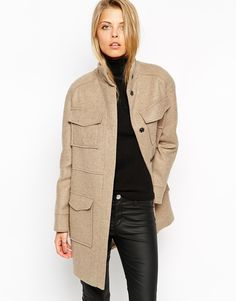 ASOS+Coat+With+Funnel+Neck+And+Utility+Pockets