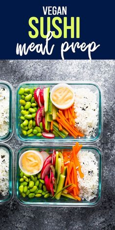 Vegan sushi bowl meal prep has all the flavors of sushi without the rolling! Fou… Vegan sushi bowl meal prep has all the flavors of sushi without the rolling! Four vegan lunch recipes ready in just 25 minutes. Veggie Meal Prep, Vegetarian Meal Prep, Vegan Lunch Recipes, Vegan Lunches, Sushi Recipes, Lunch Meal Prep, Meal Prep Bowls, Healthy Meal Prep, Veggie Recipes