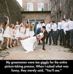 Funny Pictures Of The Day - 102 Pics <<<--- I don't support the groomsmen doing that, but hey! It's funny XD Funny Shit, Funny Cute, Funny Posts, The Funny, Hilarious, Funny Stuff, Crazy Funny, Random Stuff, Super Funny