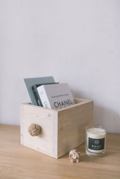 Natural Scandinavian Minimalistic Wooden Box With Blue Knot Knob by KNOTinterior on Etsy