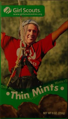 I have no idea why someone would edit a picture of a Thin Mints box to put Nicholas Cage on the front. But it happened...