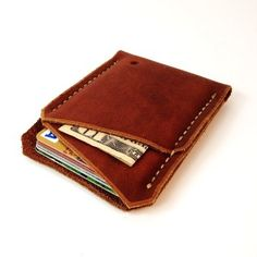 2014 Front pocket wallet / Minimalist wallet / Hand stitched leather wallet / Brown leather wallet / USA leather / Mens wallet