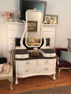 Vintage vanity dresser refinished in Annie Sloan chalk paint color of Old white with dark stain on top of dresser