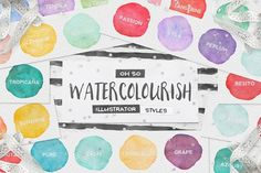 90 Watercolor AI Styles + EXTRAS! by Pink Coffie on @creativemarket