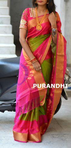 17fa292fd7efa7 Beautiful pattu saree for this wedding season with beautiful maggam work  blouse