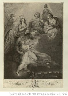 Apotheosis of Louis XVII:  Louis is welcomed to heaven by an angel, his Aunt Elisabeth, his father Louis XVI, a maiden in armor, his brother Louis-Joseph and his mother Marie Antoinette, late 18th or early 19th C, French school.