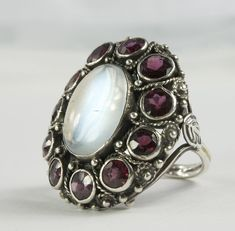 Early Retro Sterling and Moonstone and Garnet Ring, Shop Rubylane.com