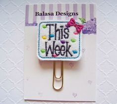 This Week Planner Clip, Bookmark, Planner Accessory, Paper Clip