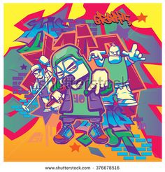 vector music hip hop and graffiti style - stock vector