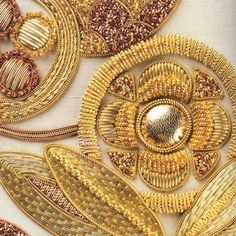 Beautiful goldwork by Mary Brown, Sydney Australia. This is a detail from a design in her book called 'Goldwork Embroidery: Designs and Projects.'