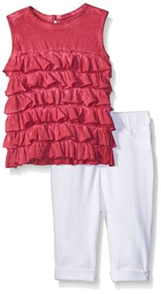 Burts Bees Baby Baby Organic Ruffle Tank and Knit Capri Jegging Set Cranberry 12 Months ** Check this awesome product by going to the link at the image.