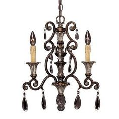 Shandy 17-In 3-Light New Tortoise Shell Clear Glass Candle Chandelier