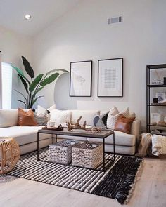 59 Best Solution Small Apartment Living Room Decor Ideas, modern living room decor with modern coffee table decor and modern sectional sofa with bookshelves and modern art in black and white living room design Home Living Room, Interior Design Living Room, Living Room Designs, Modern Living Room Decor, Modern Apartment Decor, Scandinavian Interior Living Room, Scandi Living Room, Fresh Living Room, Living Room Decor With White Couch