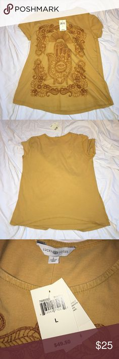 NWT! Luck Brand embroidered tshirt Lucky Brand Mustard yellow embroidered tshirt Lucky Brand Tops Tees - Short Sleeve