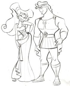 """Hercules and Megara - (C)DISNEY - Steve Thompson Another film I worked on back in the day was """"Hercules"""". I actually worked on the characters """"Pain and Panic"""", but thought I'd do a quick sketch of the two main characters. i've recently posted Jane from Tarzan, Kida from Atlantis and now Meg. I'm thinking maybe Esmerelda From Hunchback next? Hmmm…….."""