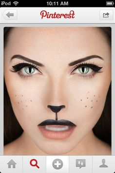 How-To: Black Cat Makeup Halloween How-To: Black Cat Makeup Perfect for Wizard of Oz, Cowardly Lion! Halloween How-To: Black Cat Makeup Perfect for Wizard of Oz, Cowardly Lion! Chat Halloween, Cute Halloween Costumes, Halloween Photos, Halloween Halloween, Pretty Halloween, Fairy Costumes, Halloween Painting, Ladies Costumes, Halloween Clothes