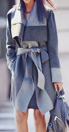#fall #outfits / gray belted coat
